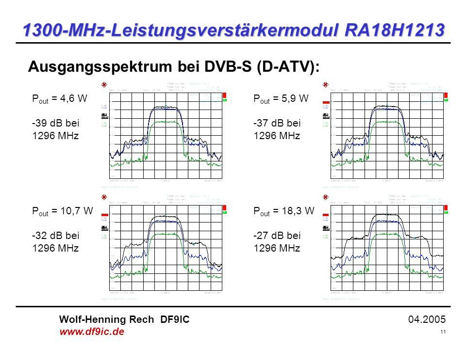 04.2005 11 Wolf-Henning Rech DF9IC www.df9ic.de 1300-MHz-Leistungsverstärkermodul RA18H1213 Ausgangsspektrum bei DVB-S (D-ATV): P out = 4,6 W -39 dB bei 1296 MHz P out = 10,7 W -32 dB bei 1296 MHz P out = 5,9 W -37 dB bei 1296 MHz P out = 18,3 W -27 dB bei 1296 MHz