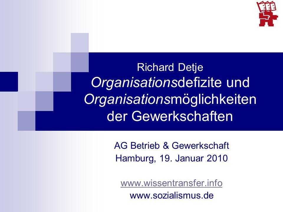 Richard Detje Organisationsdefizite und Organisationsmöglichkeiten der Gewerkschaften AG Betrieb & Gewerkschaft Hamburg, 19. Januar 2010 www.wissentra