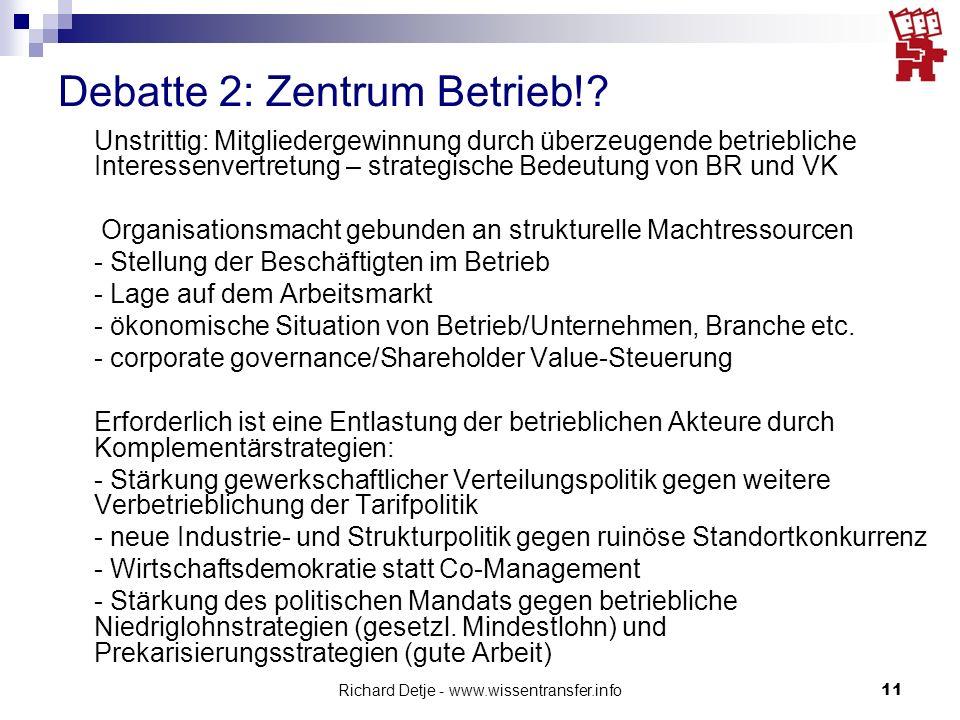 Richard Detje - www.wissentransfer.info11 Debatte 2: Zentrum Betrieb!? Unstrittig: Mitgliedergewinnung durch überzeugende betriebliche Interessenvertr
