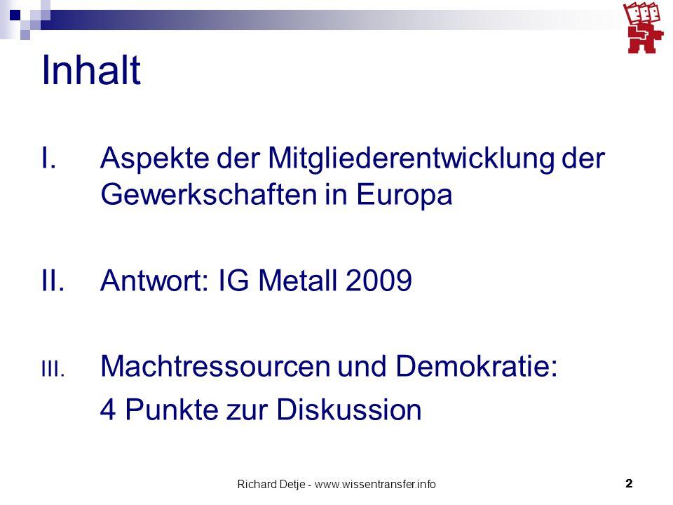 Richard Detje - www.wissentransfer.info2 Inhalt I.Aspekte der Mitgliederentwicklung der Gewerkschaften in Europa II.Antwort: IG Metall 2009 III. Macht