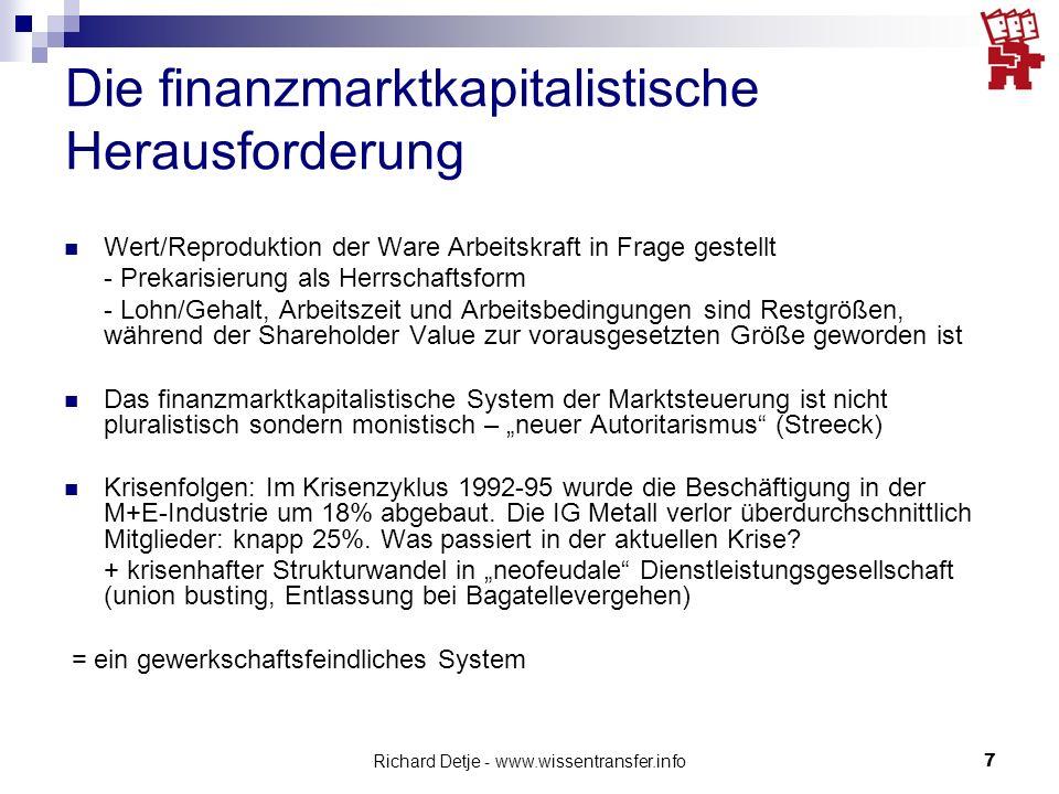 Richard Detje - www.wissentransfer.info7 Die finanzmarktkapitalistische Herausforderung Wert/Reproduktion der Ware Arbeitskraft in Frage gestellt - Pr