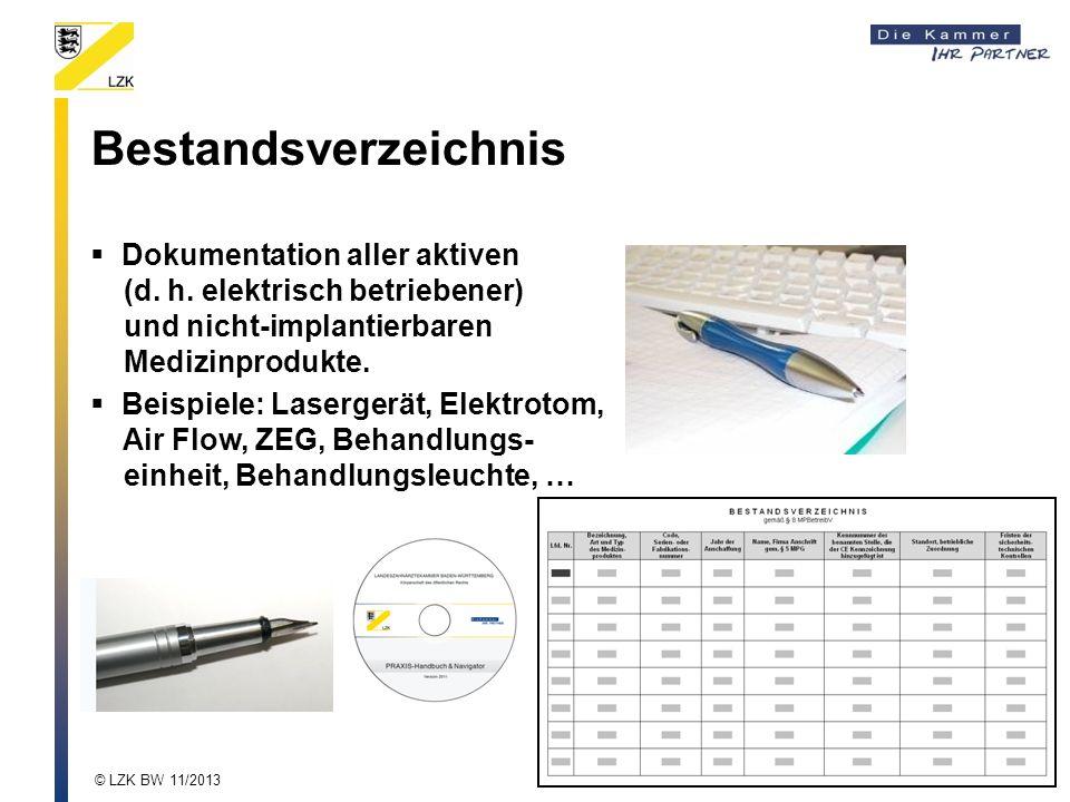 Bestandsverzeichnis Dokumentation aller aktiven (d.
