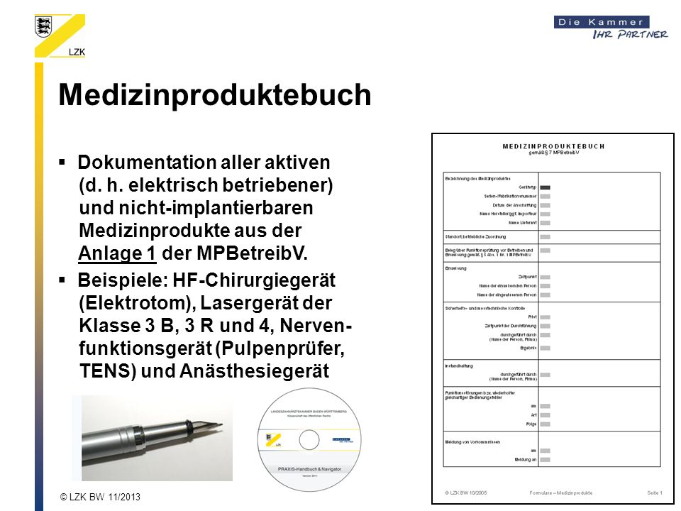 Medizinproduktebuch Dokumentation aller aktiven (d.