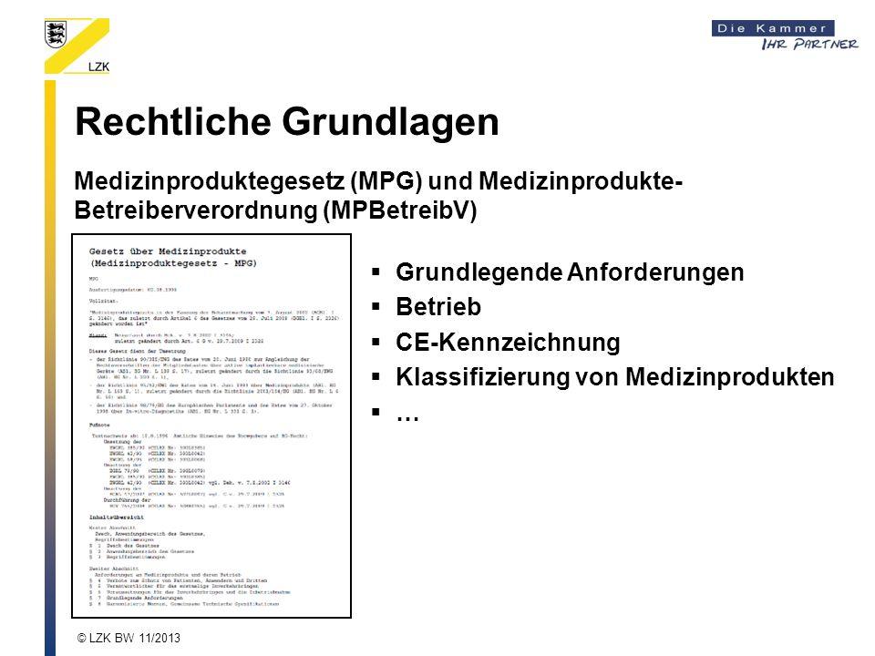 Rechtliche Grundlagen Medizinproduktegesetz (MPG) und Medizinprodukte- Betreiberverordnung (MPBetreibV) Grundlegende Anforderungen Betrieb CE-Kennzeichnung Klassifizierung von Medizinprodukten … © LZK BW 11/2013