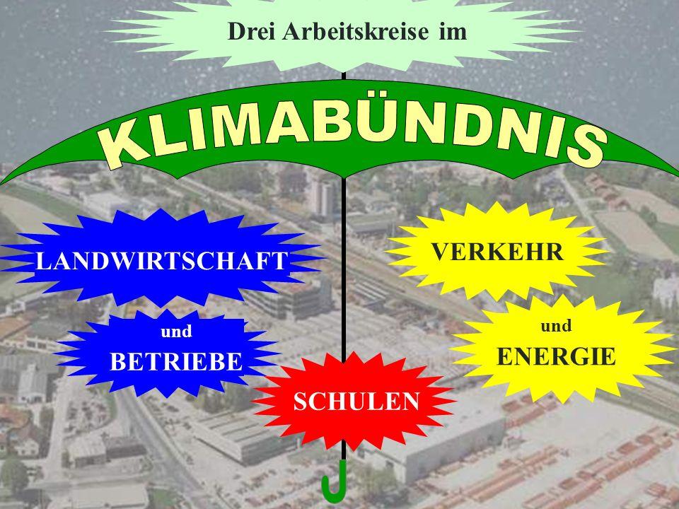 SCHULEN und BETRIEBE LANDWIRTSCHAFT und ENERGIE VERKEHR Drei Arbeitskreise im