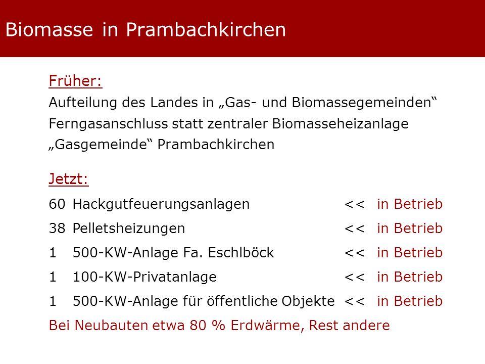 Biomasse in Prambachkirchen Früher: Aufteilung des Landes in Gas- und Biomassegemeinden Ferngasanschluss statt zentraler Biomasseheizanlage Gasgemeinde Prambachkirchen Jetzt: 60Hackgutfeuerungsanlagen<<in Betrieb 38 Pelletsheizungen<<in Betrieb 1 500-KW-Anlage Fa.