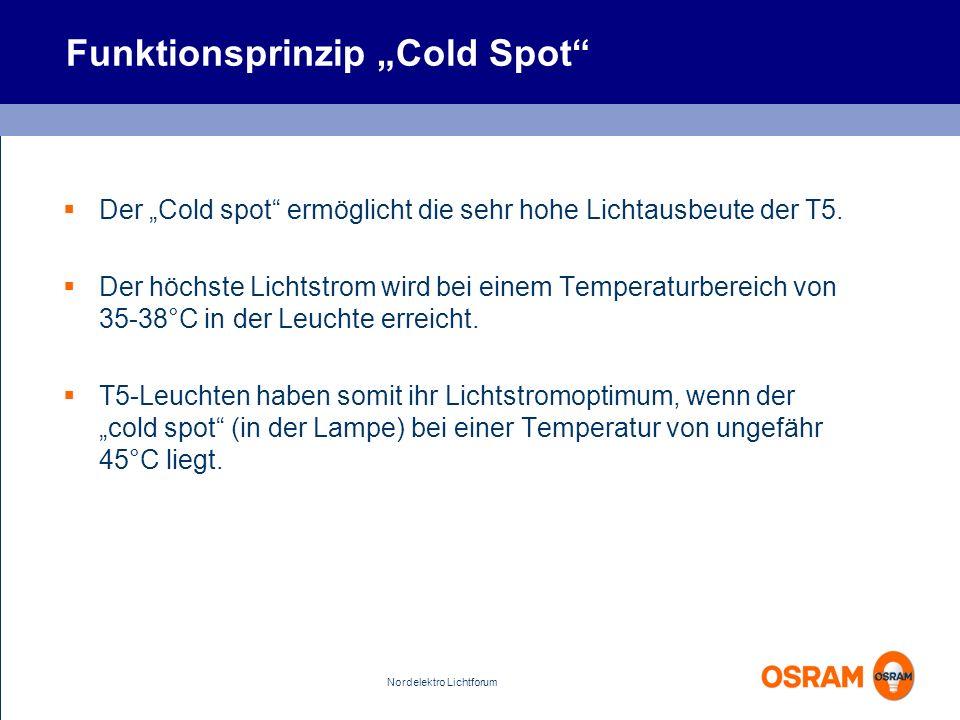 Nordelektro Lichtforum Funktionsprinzip Cold Spot Der Cold spot ermöglicht die sehr hohe Lichtausbeute der T5. Der höchste Lichtstrom wird bei einem T