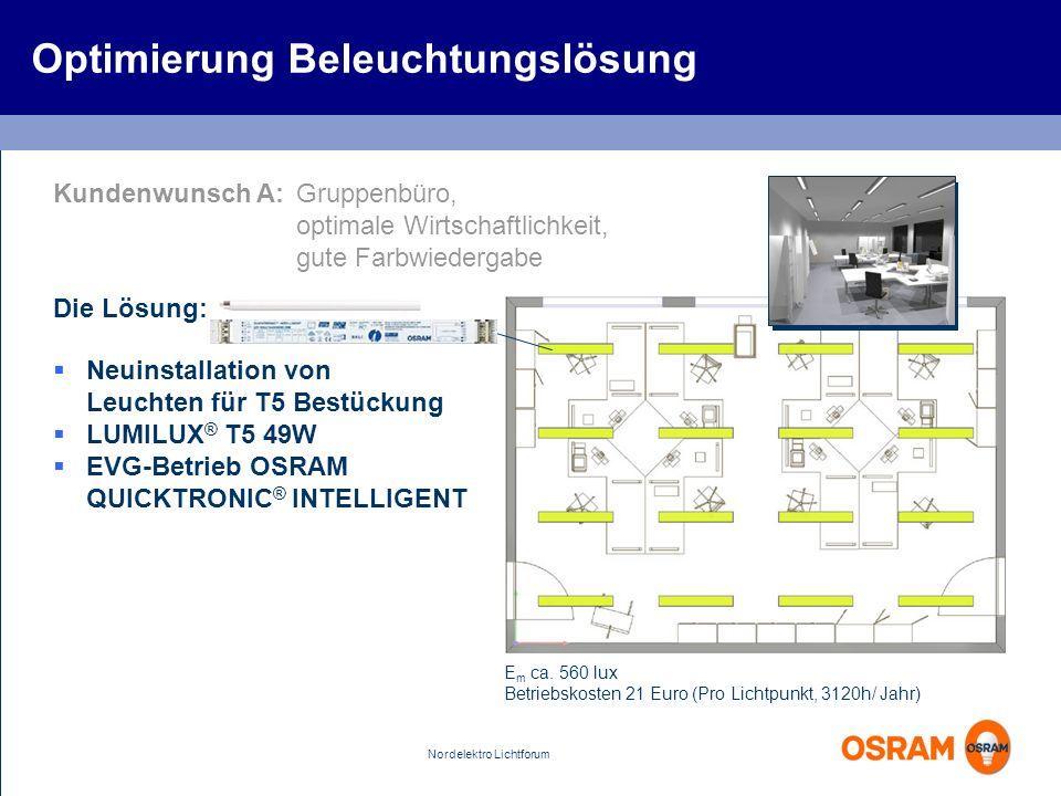 Nordelektro Lichtforum Optimierung Beleuchtungslösung Kundenwunsch A:Gruppenbüro, optimale Wirtschaftlichkeit, gute Farbwiedergabe Die Lösung: Neuinst