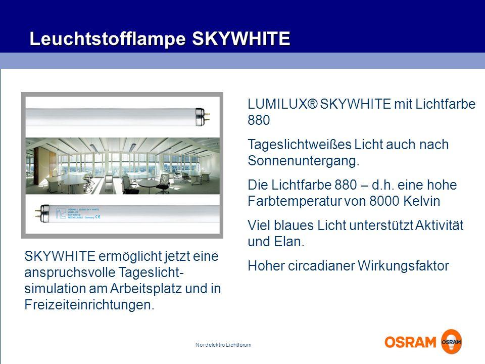 Nordelektro Lichtforum SKYWHITE ermöglicht jetzt eine anspruchsvolle Tageslicht- simulation am Arbeitsplatz und in Freizeiteinrichtungen. Leuchtstoffl