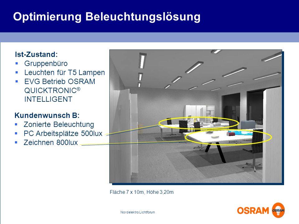 Nordelektro Lichtforum Optimierung Beleuchtungslösung Fläche 7 x 10m, Höhe 3,20m Ist-Zustand: Gruppenbüro Leuchten für T5 Lampen EVG Betrieb OSRAM QUI