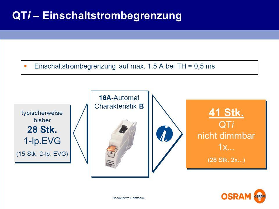 Nordelektro Lichtforum 16A-Automat Charakteristik B typischerweise bisher 28 Stk. 1-lp.EVG (15 Stk. 2-lp. EVG) 41 Stk. QTi nicht dimmbar 1x... (28 Stk