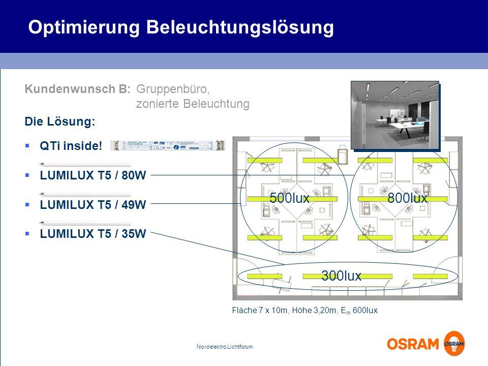 Nordelektro Lichtforum 500lux800lux Optimierung Beleuchtungslösung Kundenwunsch B:Gruppenbüro, zonierte Beleuchtung Die Lösung: Fläche 7 x 10m, Höhe 3