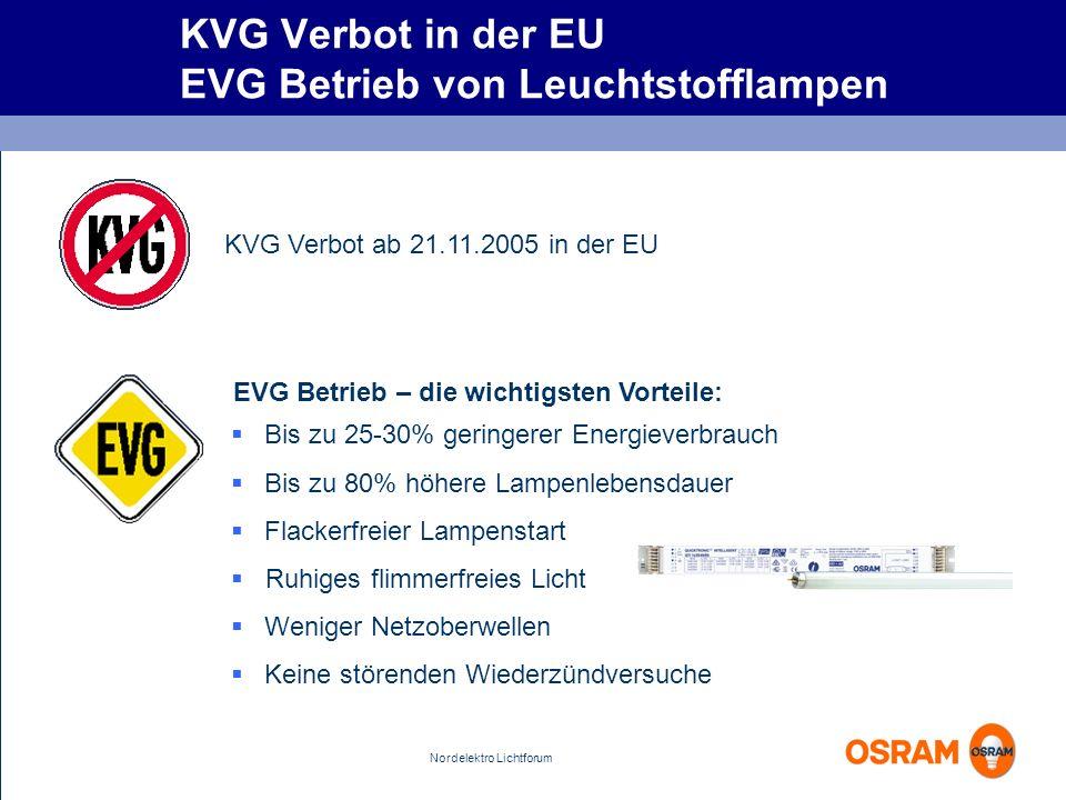 Nordelektro Lichtforum KVG Verbot in der EU EVG Betrieb von Leuchtstofflampen EVG Betrieb – die wichtigsten Vorteile: KVG Verbot ab 21.11.2005 in der