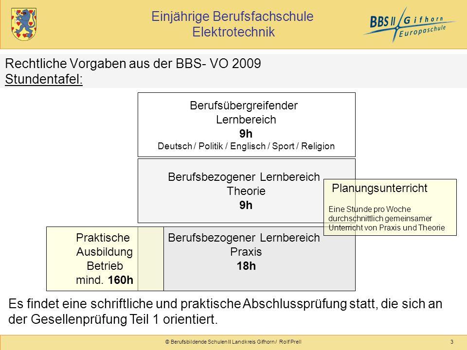 Einjährige Berufsfachschule Elektrotechnik © Berufsbildende Schulen II Landkreis Gifhorn / Rolf Prell3 Rechtliche Vorgaben aus der BBS- VO 2009 Stunde