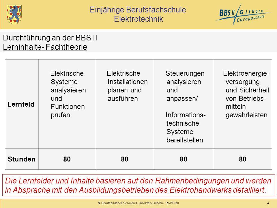 Einjährige Berufsfachschule Elektrotechnik © Berufsbildende Schulen II Landkreis Gifhorn / Rolf Prell4 Lernfeld Elektrische Systeme analysieren und Fu