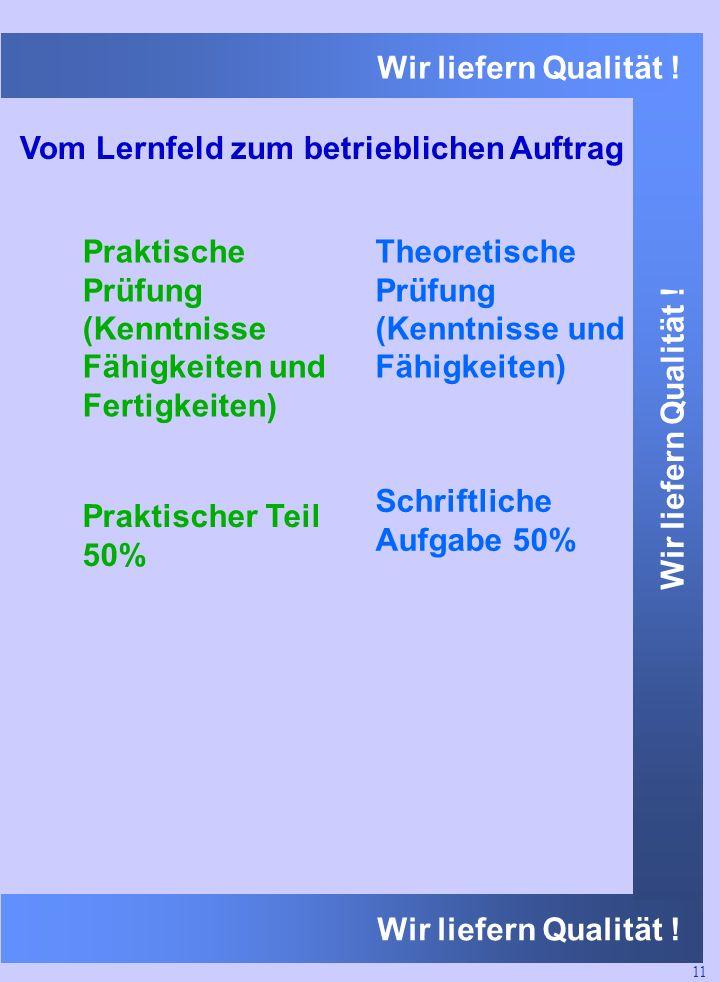 Wir liefern Qualität ! Vom Lernfeld zum betrieblichen Auftrag Theoretische Prüfung (Kenntnisse und Fähigkeiten) Praktische Prüfung (Kenntnisse Fähigke