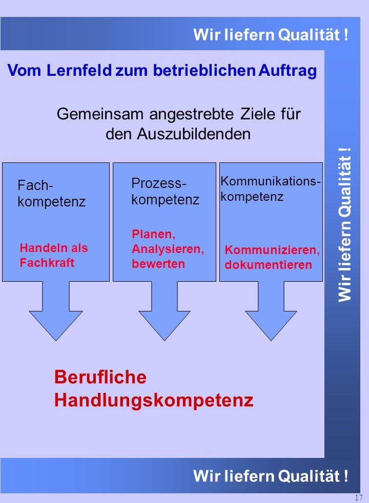 Wir liefern Qualität ! Vom Lernfeld zum betrieblichen Auftrag Berufliche Handlungskompetenz Fach- kompetenz Handeln als Fachkraft Prozess- kompetenz P