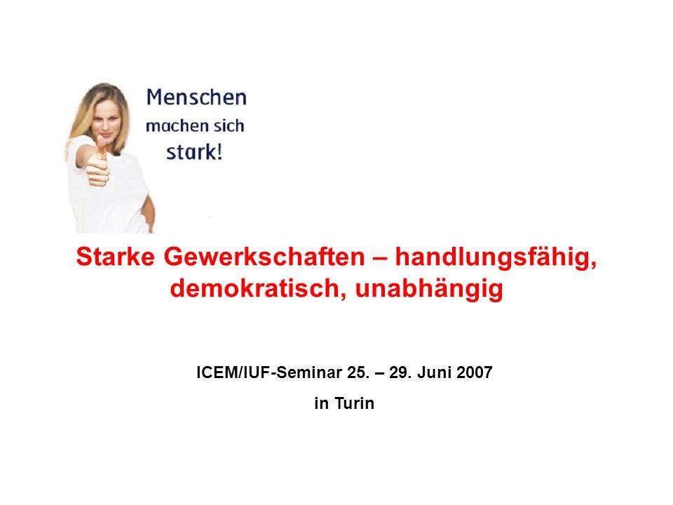 Starke Gewerkschaften – handlungsfähig, demokratisch, unabhängig ICEM/IUF-Seminar 25. – 29. Juni 2007 in Turin