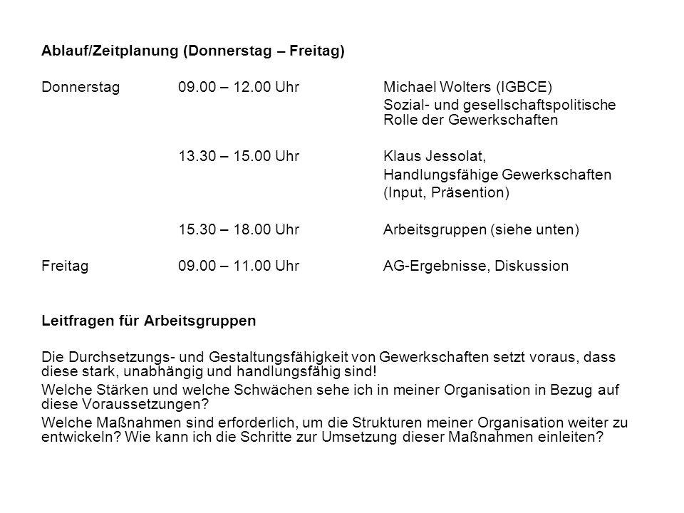 Ablauf/Zeitplanung (Donnerstag – Freitag) Donnerstag09.00 – 12.00 UhrMichael Wolters (IGBCE) Sozial- und gesellschaftspolitische Rolle der Gewerkschaften 13.30 – 15.00 UhrKlaus Jessolat, Handlungsfähige Gewerkschaften (Input, Präsention) 15.30 – 18.00 UhrArbeitsgruppen (siehe unten) Freitag 09.00 – 11.00 UhrAG-Ergebnisse, Diskussion Leitfragen für Arbeitsgruppen Die Durchsetzungs- und Gestaltungsfähigkeit von Gewerkschaften setzt voraus, dass diese stark, unabhängig und handlungsfähig sind.