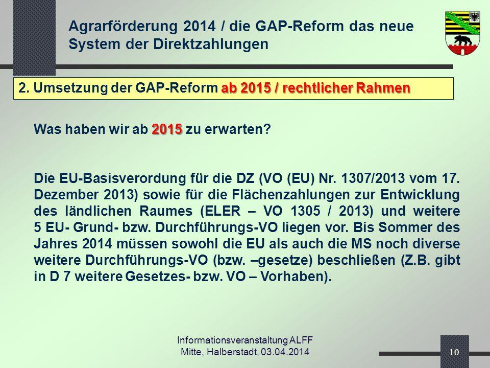Agrarförderung 2014 / die GAP-Reform das neue System der Direktzahlungen Informationsveranstaltung ALFF Mitte, Halberstadt, 03.04.2014 ab 2015 / rechtlicher Rahmen 2.