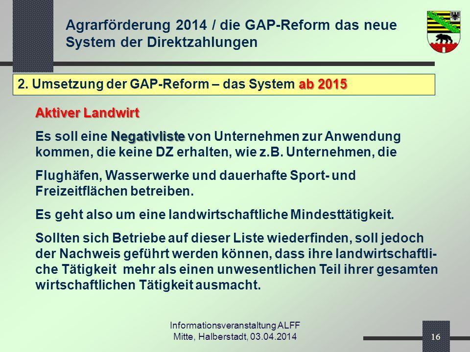 Agrarförderung 2014 / die GAP-Reform das neue System der Direktzahlungen Informationsveranstaltung ALFF Mitte, Halberstadt, 03.04.2014 ab 2015 2.