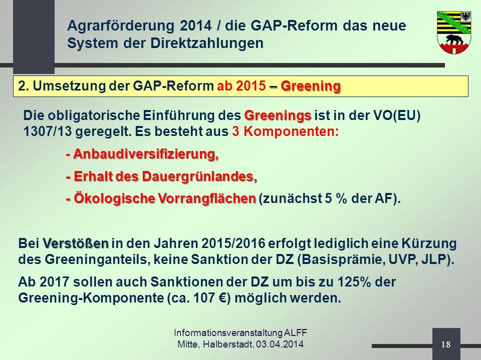 Agrarförderung 2014 / die GAP-Reform das neue System der Direktzahlungen Informationsveranstaltung ALFF Mitte, Halberstadt, 03.04.2014 – Greening 2.