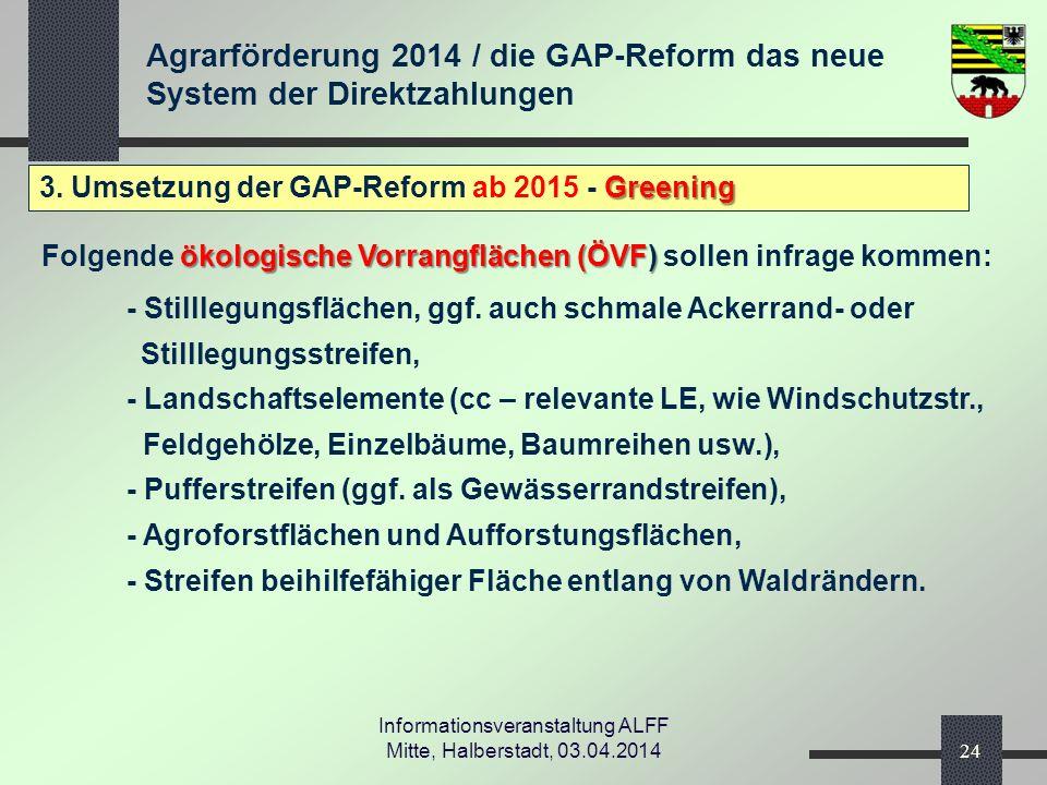 Agrarförderung 2014 / die GAP-Reform das neue System der Direktzahlungen Informationsveranstaltung ALFF Mitte, Halberstadt, 03.04.2014 Greening 3.