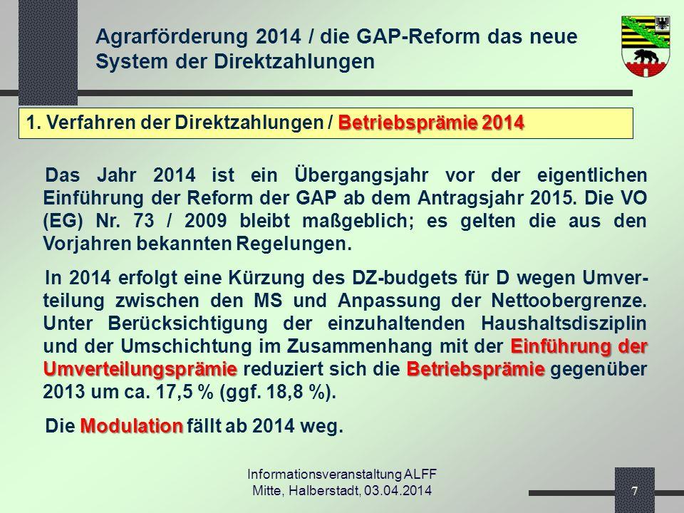 Agrarförderung 2014 / die GAP-Reform das neue System der Direktzahlungen Informationsveranstaltung ALFF Mitte, Halberstadt, 03.04.2014 2.