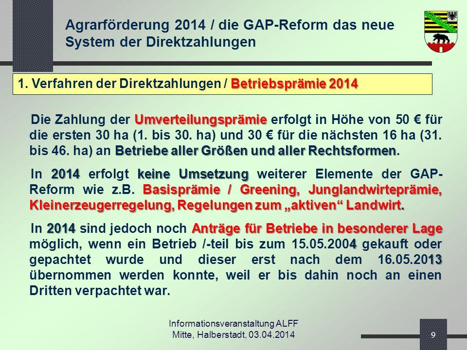 Agrarförderung 2014 / die GAP-Reform das neue System der Direktzahlungen Informationsveranstaltung ALFF Mitte, Halberstadt, 03.04.2014 Betriebsprämie 2014 1.