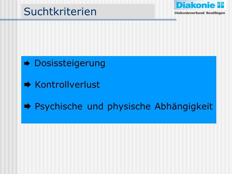 Diakonieverband Reutlingen Suchtkriterien Dosissteigerung Kontrollverlust Psychische und physische Abhängigkeit