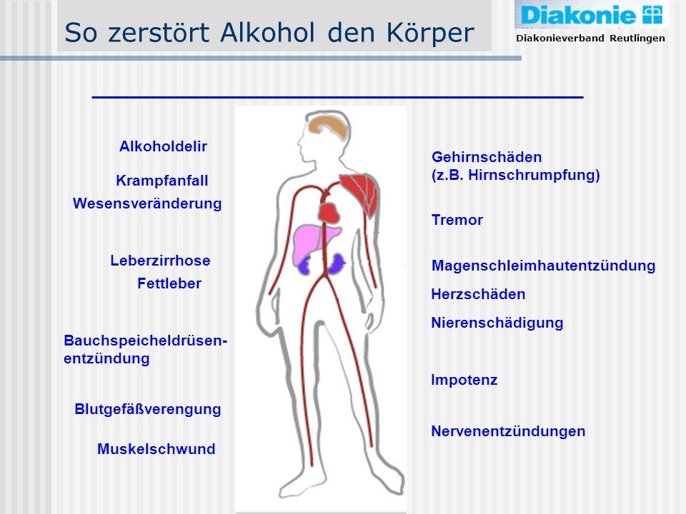 Diakonieverband Reutlingen So zerst ö rt Alkohol den K ö rper Gehirnschäden (z.B. Hirnschrumpfung) Magenschleimhautentzündung Nierenschädigung Impoten