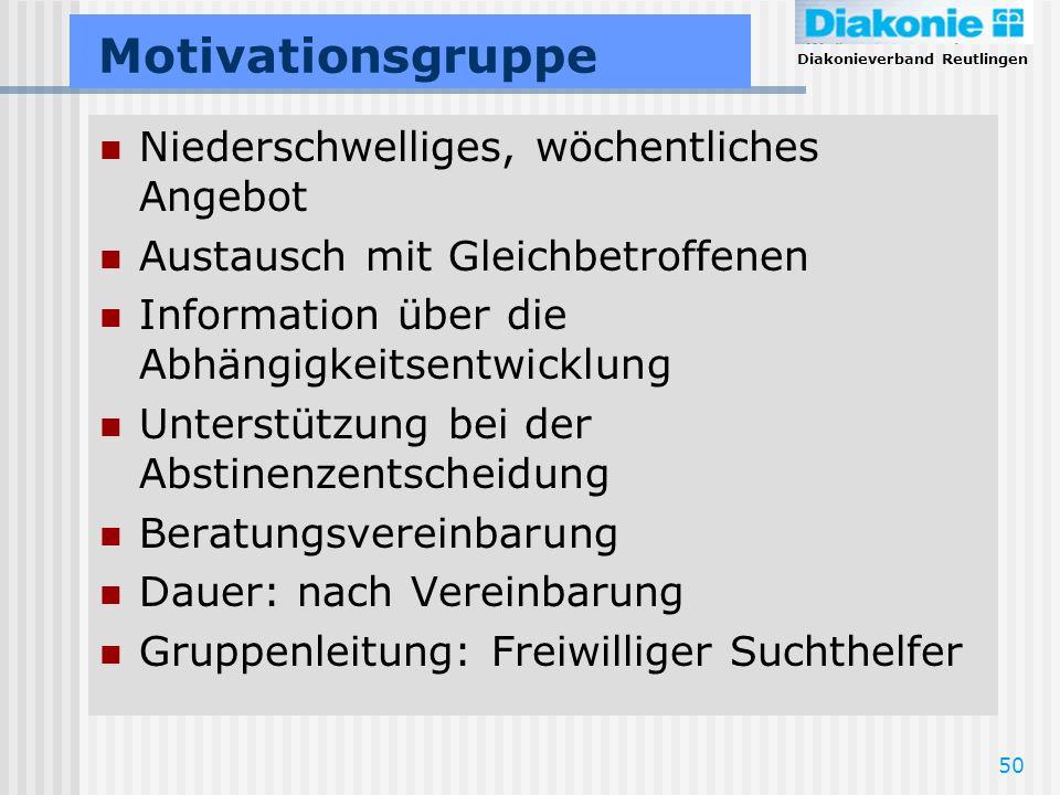 Diakonieverband Reutlingen 50 Motivationsgruppe Niederschwelliges, wöchentliches Angebot Austausch mit Gleichbetroffenen Information über die Abhängig