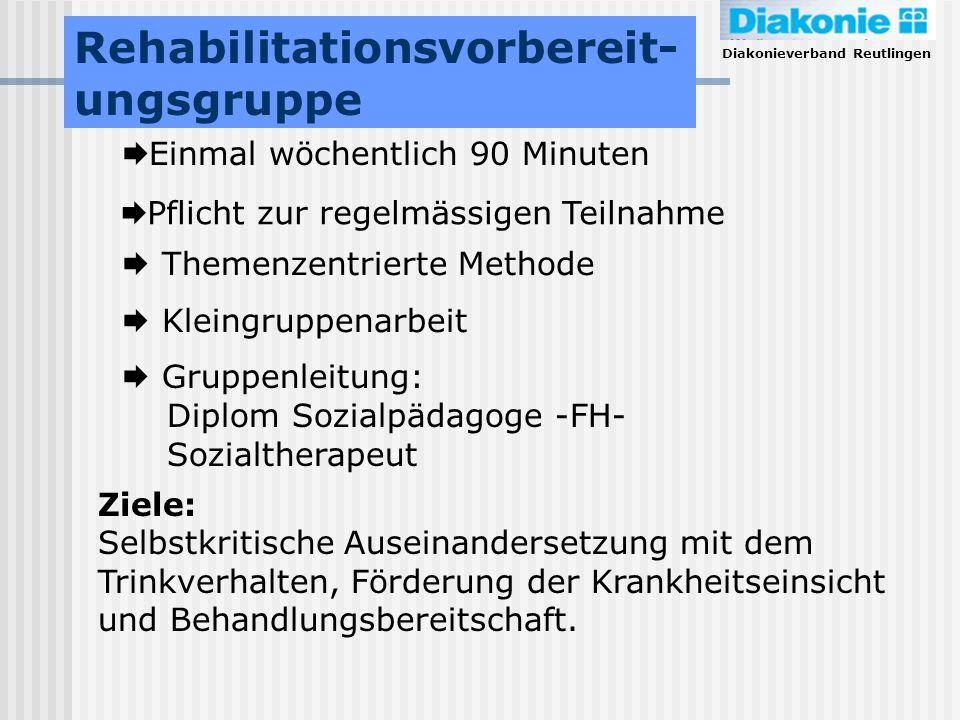 Diakonieverband Reutlingen Rehabilitationsvorbereit- ungsgruppe Einmal wöchentlich 90 Minuten Pflicht zur regelmässigen Teilnahme Themenzentrierte Met