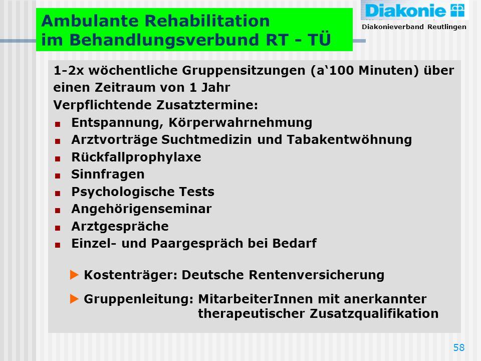 Diakonieverband Reutlingen 58 Ambulante Rehabilitation im Behandlungsverbund RT - TÜ 1-2x wöchentliche Gruppensitzungen (a100 Minuten) über einen Zeit