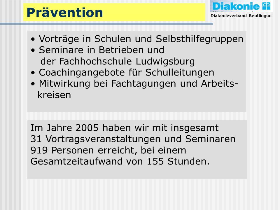 Diakonieverband Reutlingen Prävention Vorträge in Schulen und Selbsthilfegruppen Seminare in Betrieben und der Fachhochschule Ludwigsburg Coachingange