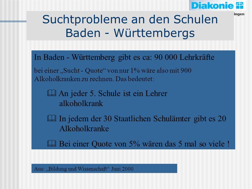 Diakonieverband Reutlingen Suchtprobleme an den Schulen Baden - Württembergs In Baden - Württemberg gibt es ca: 90 000 Lehrkräfte bei einer Sucht - Qu