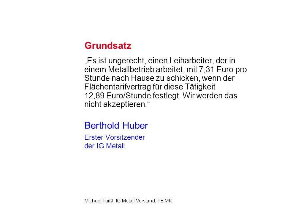 2 Michael Faißt, IG Metall Vorstand, FB MK Grundsatz Es ist ungerecht, einen Leiharbeiter, der in einem Metallbetrieb arbeitet, mit 7,31 Euro pro Stunde nach Hause zu schicken, wenn der Flächentarifvertrag für diese Tätigkeit 12,89 Euro/Stunde festlegt.