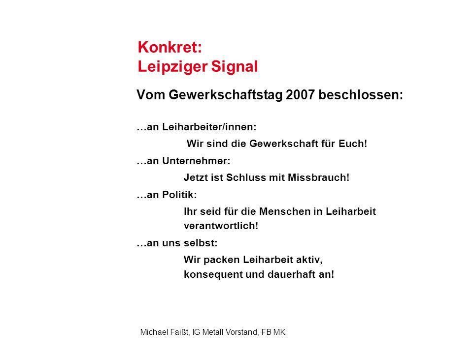 8 Michael Faißt, IG Metall Vorstand, FB MK Konkret: Leipziger Signal Vom Gewerkschaftstag 2007 beschlossen: …an Leiharbeiter/innen: Wir sind die Gewerkschaft für Euch.