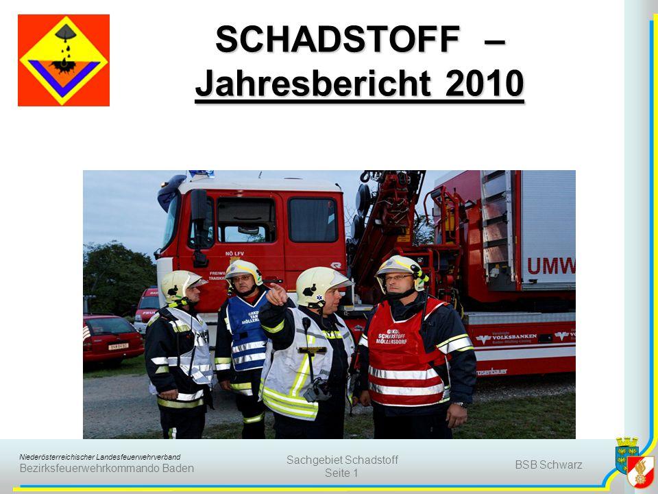 Niederösterreichischer Landesfeuerwehrverband Bezirksfeuerwehrkommando Baden BSB Schwarz Sachgebiet Schadstoff Seite 1 SCHADSTOFF – Jahresbericht 2010