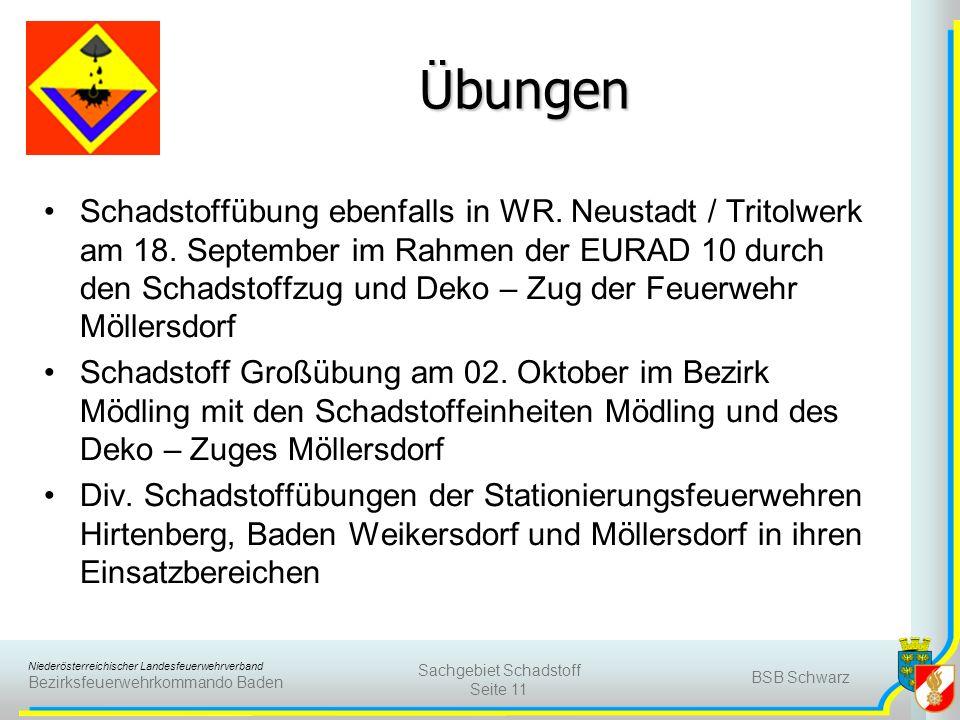 Niederösterreichischer Landesfeuerwehrverband Bezirksfeuerwehrkommando Baden Übungen Schadstoffübung ebenfalls in WR. Neustadt / Tritolwerk am 18. Sep