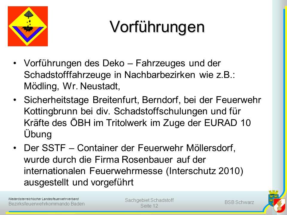 Niederösterreichischer Landesfeuerwehrverband Bezirksfeuerwehrkommando Baden Vorführungen Vorführungen des Deko – Fahrzeuges und der Schadstofffahrzeu