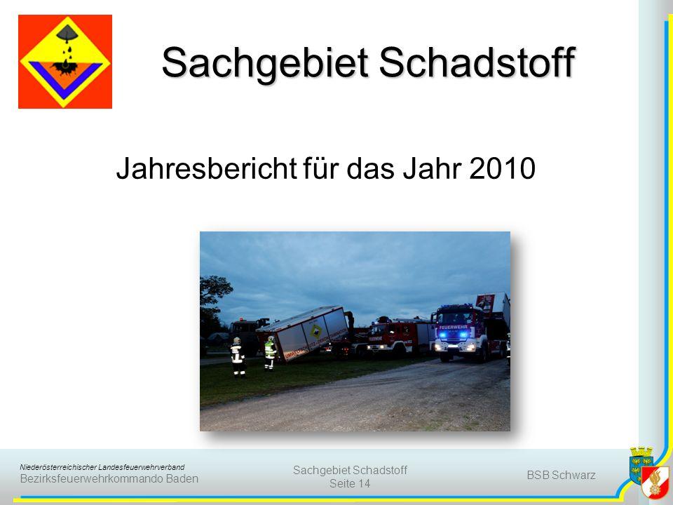 Niederösterreichischer Landesfeuerwehrverband Bezirksfeuerwehrkommando Baden BSB Schwarz Sachgebiet Schadstoff Seite 14 Sachgebiet Schadstoff Jahresbe