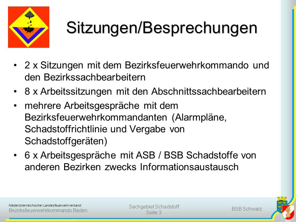 Niederösterreichischer Landesfeuerwehrverband Bezirksfeuerwehrkommando Baden BSB Schwarz Sachgebiet Schadstoff Seite 3 Sitzungen/Besprechungen 2 x Sit
