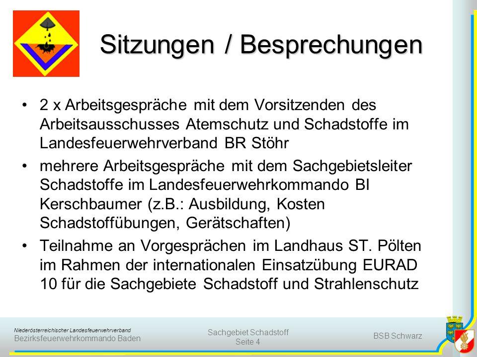 Niederösterreichischer Landesfeuerwehrverband Bezirksfeuerwehrkommando Baden BSB Schwarz Sachgebiet Schadstoff Seite 5 Ausbildungen / Schulungen Ausarbeitung des 2.Schadstoff – Viertels – Gespräches am 16.
