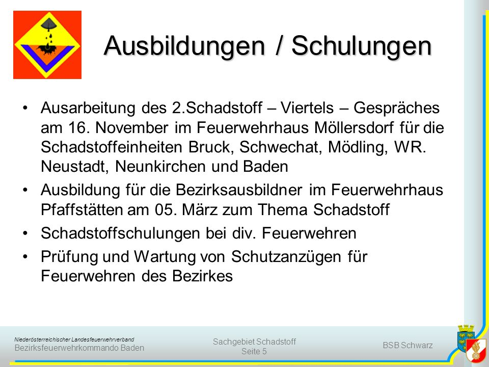 Niederösterreichischer Landesfeuerwehrverband Bezirksfeuerwehrkommando Baden BSB Schwarz Sachgebiet Schadstoff Seite 5 Ausbildungen / Schulungen Ausar
