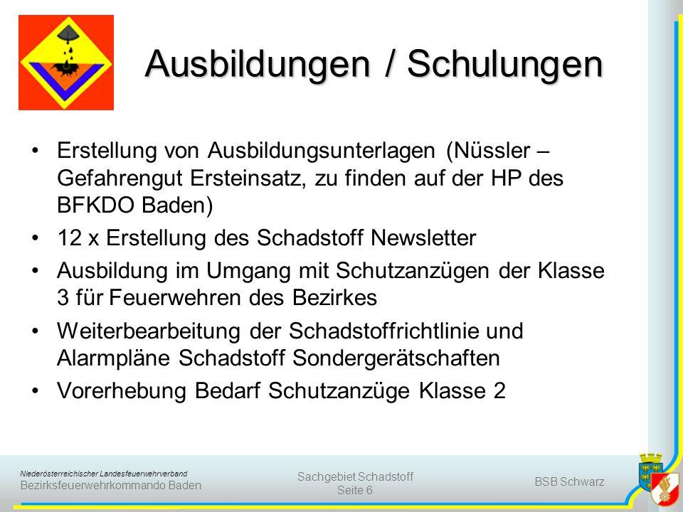 Niederösterreichischer Landesfeuerwehrverband Bezirksfeuerwehrkommando Baden BSB Schwarz Sachgebiet Schadstoff Seite 7 Einsätze Im Jahr 2010 wurden Gesamt 147 Schadstoffeinsätze im Bezirk Baden alarmiert.