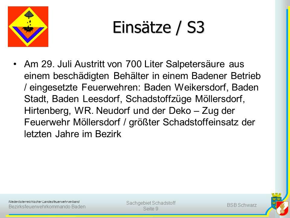 Niederösterreichischer Landesfeuerwehrverband Bezirksfeuerwehrkommando Baden Einsätze / S3 Am 29. Juli Austritt von 700 Liter Salpetersäure aus einem