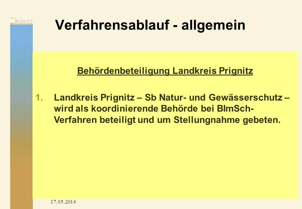 Verfahrensablauf - allgemein 17.05.2014 Behördenbeteiligung Landkreis Prignitz 1.Landkreis Prignitz – Sb Natur- und Gewässerschutz – wird als koordini