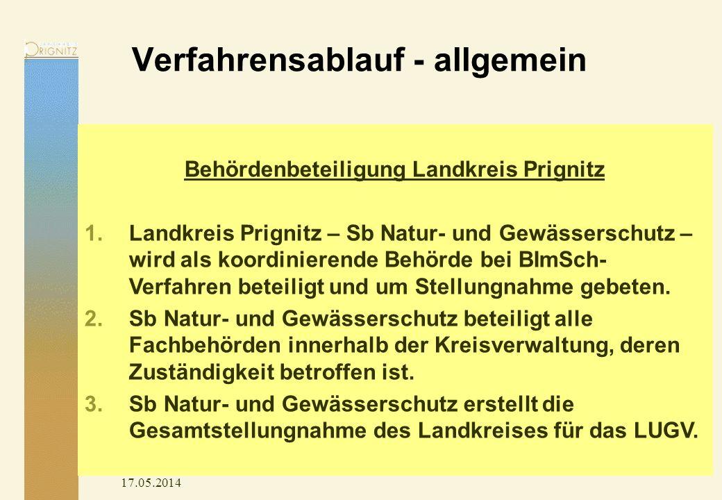 Verfahrensablauf - allgemein 17.05.2014 Behördenbeteiligung Landkreis Prignitz 1.Landkreis Prignitz – Sb Natur- und Gewässerschutz – wird als koordinierende Behörde bei BImSch- Verfahren beteiligt und um Stellungnahme gebeten.