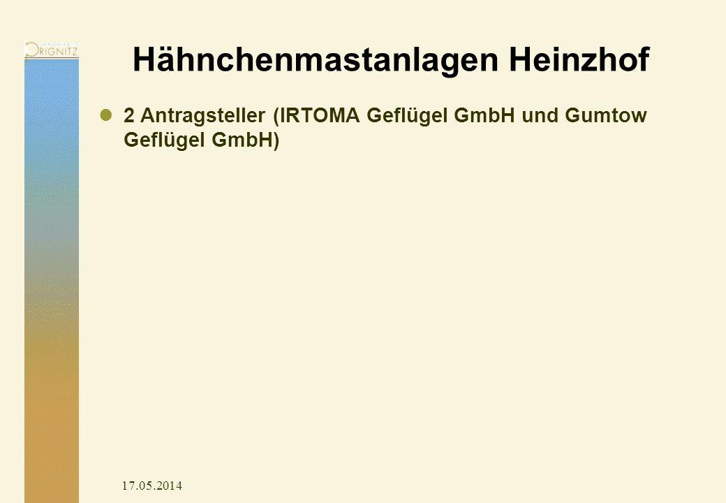 17.05.2014 Hähnchenmastanlagen Heinzhof 2 Antragsteller (IRTOMA Geflügel GmbH und Gumtow Geflügel GmbH)